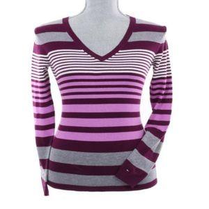 Tommy Hilfiger Long Sleeve V-Neck Stripe Sweater